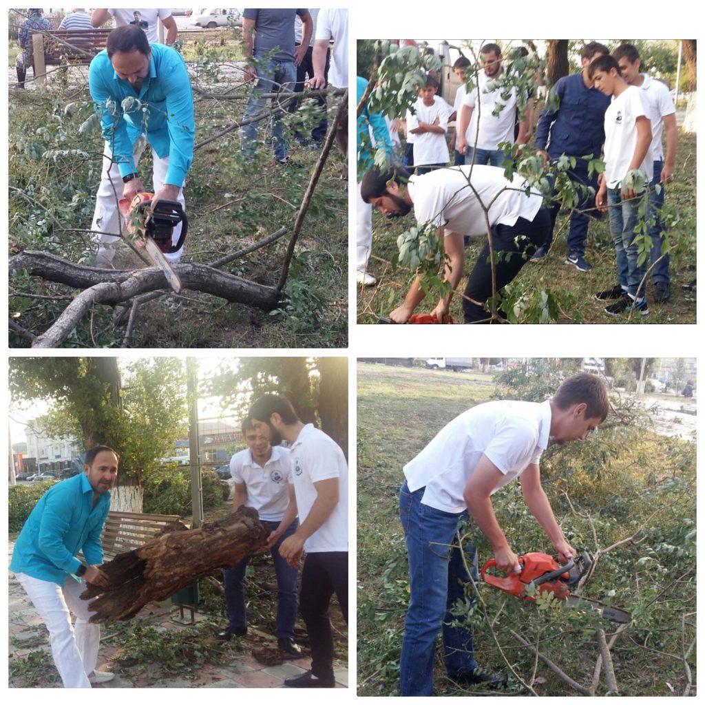 Региональный центр общественного контроля в сфере ЖКХ устраняет последствия урагана в г.Грозном